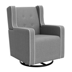 Graco Tufted Remi Upholstered Swivel Glider Night Sky and White Trim