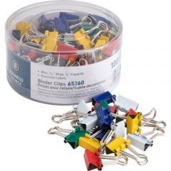 Business Source Mini Binder Clips Assorted Colours 100 Pack