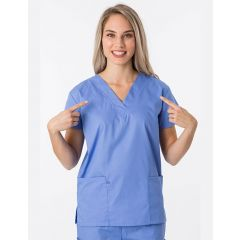 Green Town Classix Collection Unisex Scrub Top Ciel Blue