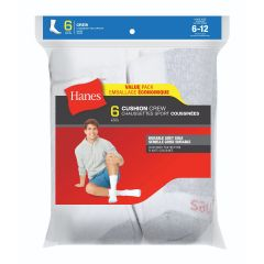 Hanes Cushion Crew Sock 6Pk White Size 6-12