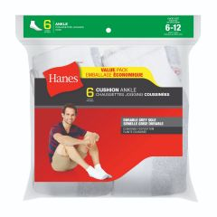Hanes Cushion Ankle Sock 6Pk White Size 6-12
