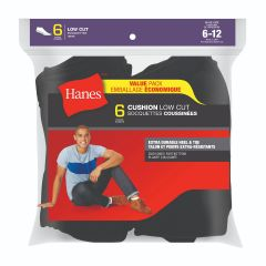 Hanes Cushion Low Cut Sock 6Pk Black Size 6-12