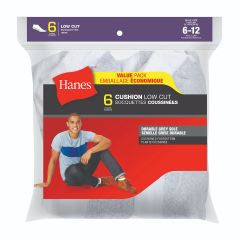 Hanes Cushion Low Cut Sock 6Pk White Size 6-12