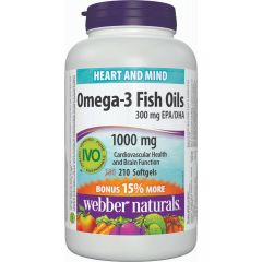 Webber Naturals Omega-3 Fish Oils 1000 mg - Heart and Mind