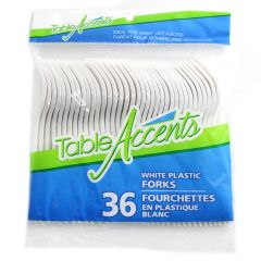 Table Accents White Plastic Forks 36Pk