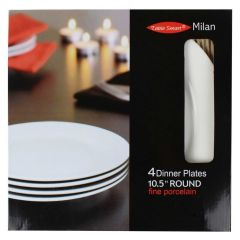 Table Smart Milan 10.5in Round Dinner Plates 4Pk