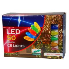 50 Pack C6 LED Indoor Multicolor Christmas Lights