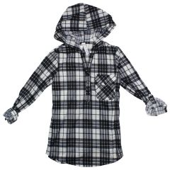 2 Dye 4 Long Plaid Shirt with Hood Size 7-14
