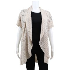 Guilty Open Crochet Beige Cardigan Sweater