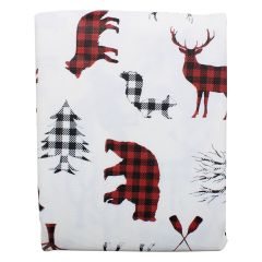 Color Your Home Peva Flannel Black Tablecloth Deer Print