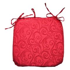 Home Essentials Jacquard Swirl Tie Down Chair Pad Red