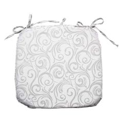 Home Essentials Jacquard Swirl Tie Down Chair Pad Silver