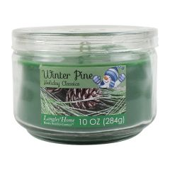 Holiday Classics Winter Pine Richly Scented Glass Candle Jar 10 oz