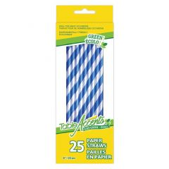 Table Accents Goes Green Striped Paper Straws Blue 20cm 25Pk