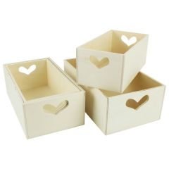 Wood Craft Crate with Heart Handle