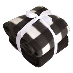 Fleece Throw Black and White Plaid 2 Pack