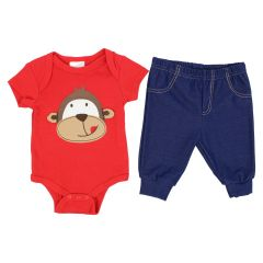 Baby Mode Bodysuit and Pant Set Monkey Red