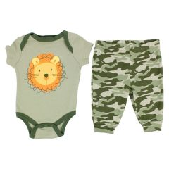Baby Mode Bodysuit and Pant Set Lion Green