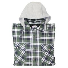 Big Valley Flannelette Shirt with Hood Green