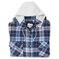 Big Valley Flannelette Shirt with Hood Navy