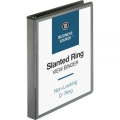 Business Source Basic D-Ring 1inch View Binder Black
