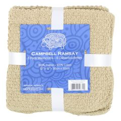 Campbell Ramsay Cotton Washcloth 6Pk Brown