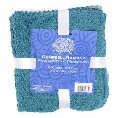 Campbell Ramsay Cotton Washcloth 6Pk Blue