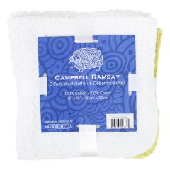 Campbell Ramsay Cotton Washcloth 6Pk White