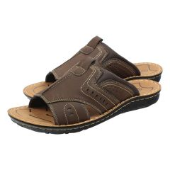 Leather Slide Sandal Brown
