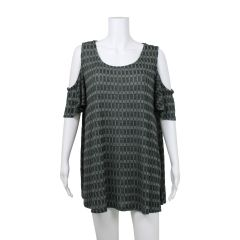 Cold Shoulder Knit Tunic Green