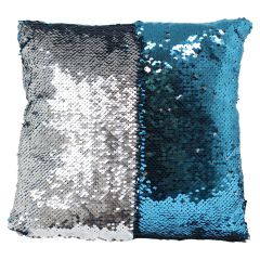Sequin Cushion 13 in X 13 in Blue and Silver