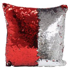 Sequin Cushion 13 in X 13 in Red