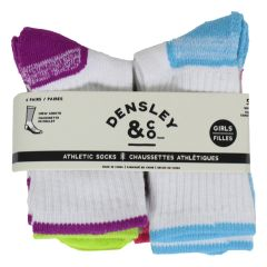 Densly & Co. Athletic Crew Socks Girls 4 Pack Size 5-7