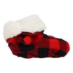 Great Northern Sherpa Lined Plaid Booties Red