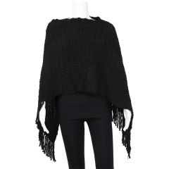 Guilty Knit Wear Knit Fringe Poncho Black