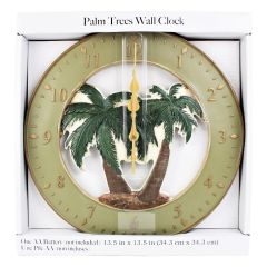Home Decor Palm Trees Clock 13in