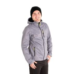 Hooded Soft Shell Zip Front Jacket Grey