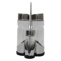 Glass Cruet Stand 5 Piece Set
