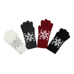 Womens Snowflake Knit Glove One Size Assorted Colours