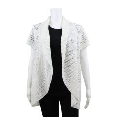 Guilty Open Crochet Ivory Cardigan Sweater