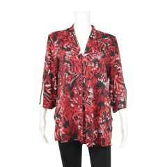Clientele Floral Tunic Top Red