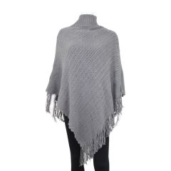 Guilty Turtle Neck Knit Poncho Grey