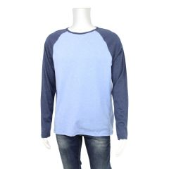 The Raglan Ringer Crew Men's Long Sleeve Blue Large