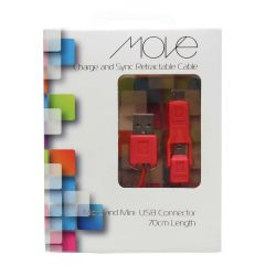 Move Charge And Sync Cable Micro & Mini USB Connector 70cm Red
