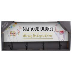 Decorative Wall Plaque With 4 Metal Hooks