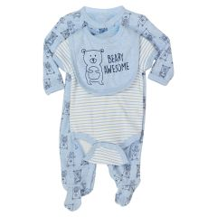 Baby Mode Light Blue Bear 3Pc Set Bib/Onesie/Sleeper