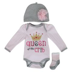 New Born Girls 3 Piece Pink Layette Set with Matching Socks and Hat Size 9 Months