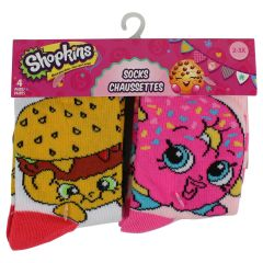 Shopkins Girls 4 Package Crew Socks 2-3X