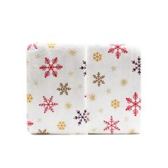 Sunbeam Snowflake Flannel Sheet Set Queen White