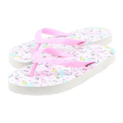 Chatties Unicorn Design Flip Flops White